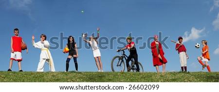 kids summer sports - stock photo