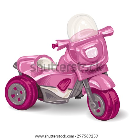Kids tricycle on white background - stock photo