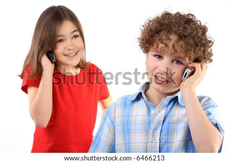 Kids using mobile phone