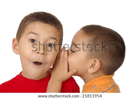kids whispering a secret, 5 and 6 years old