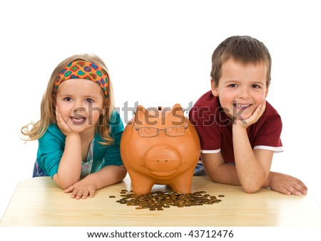 Kids with coins and a piggy bank - financial education concept, isolated - stock photo