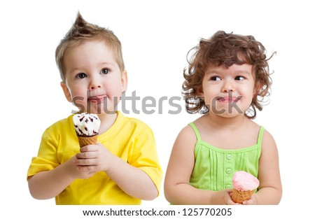kids with cone ice cream isolated on white - stock photo