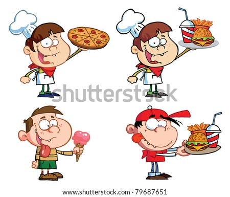 Kids With Fast Food-Raster Collection - stock photo