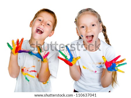 kids with hands in paint  over white - stock photo
