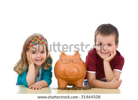 Kids with their expert piggy bank - financial education concept, isolated - stock photo