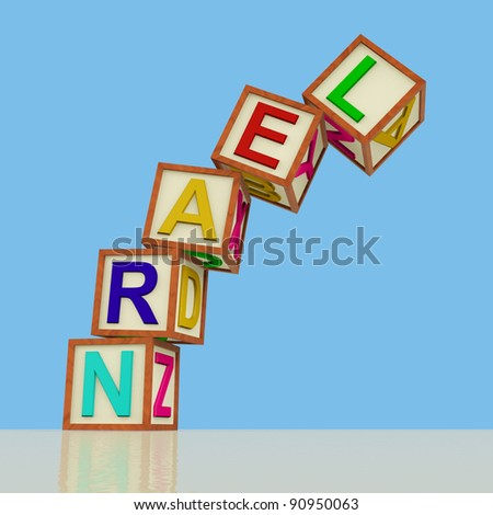 Kids Wooden Blocks Spelling Learn Falling Over As Symbol for Study And Education