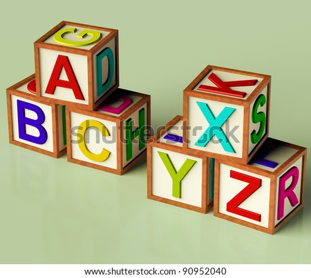 Kids Wooden Blocks With Abc And Xyx As Symbol For Education And Learning - stock photo