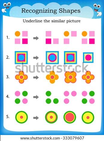 Kids Worksheet Recognize Find Similar Shape Stock Illustration ...