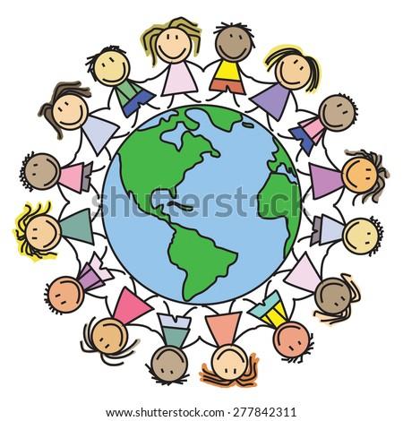Kids world - children on globe /drawing  - stock photo