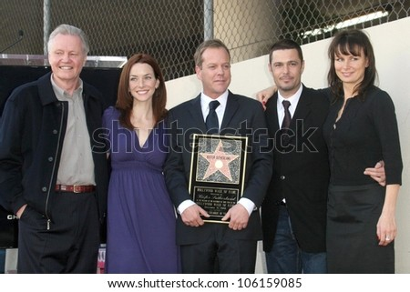 Kiefer Sutherland with cast of '24'   at the Ceremony Honoring Kiefer Sutherland with the 2,377th Star on the Hollywood Walk of Fame. Hollywood Boulevard, Hollywood, CA. 12-09-08 - stock photo