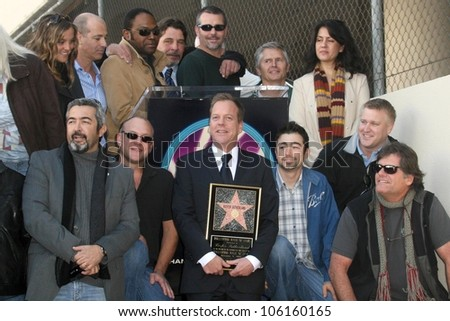 Kiefer Sutherland with the cast and crew of '24'   at the Ceremony Honoring Kiefer Sutherland with the 2,377th Star on the Hollywood Walk of Fame. Hollywood Boulevard, Hollywood, CA. 12-09-08 - stock photo