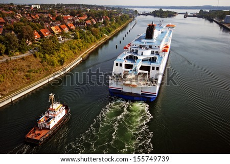 Kiel Canal cruise - stock photo