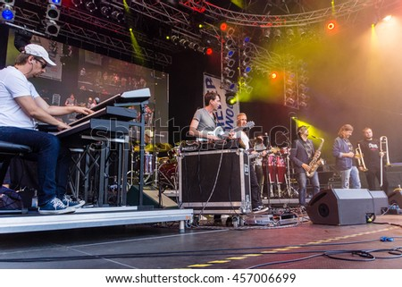 Kiel, Germany - June 22nd 2016:  The Band Heavy Tones performs on the Rathaus Stage during the fifth Day of the Kieler Woche 2016