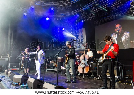 "Kiel, Germany - June 23rd 2016:   Bela B. from the Band ""Die Aerzte"" on the Rathaus Stage during sixth Day of the Kieler Woche 2016"