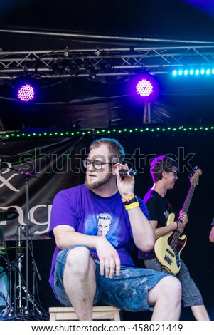 "Kiel, Germany - June 23rd 2016: The Band ""Fools & Kings"" performs on the Junge Buehne during the sixth Day of the Kieler Woche 2016"