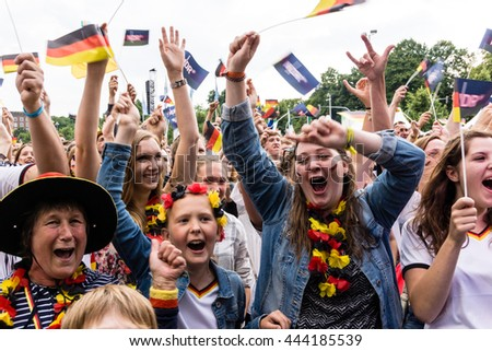 Kiel, Germany - June 26th 2016: Public Viewing of the Football Match Germany - Slovakia / Fans celebrate a Goal during the Kieler Week 2016