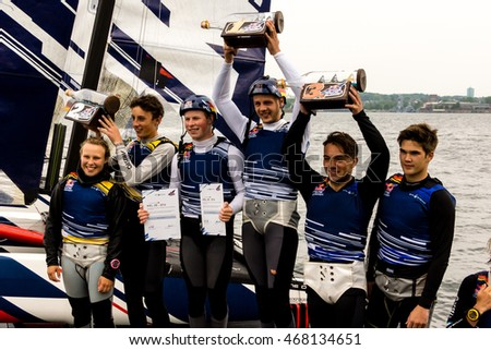 Kiel, Germany - May 29th 2016: The victory ceremony of the Red Bull Foiling Generation