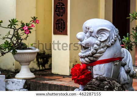 KIEN GIANG, VIETNAM - JULY 08, 2016 - A stone statue at Mac Cuu tomb, located at the foot of Binh San Mountain in Binh San Ward of Ha Tien Town, is highly recommended for who travel to the Kien Giang