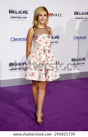"Kiernan Shipka at the World premiere of ""Justin Bieber's Believe"" held at the Regal Cinemas L.A. Live in Los Angeles on December 18, 2013 in Los Angeles, California.  - stock photo"