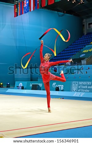 KIEV - AUG 29: 32nd Rhythmic Gymnastics World Championships on August 29, 2013 in Kiev, Ukraine. 56 different nations representing all continents in the tournament.  - stock photo