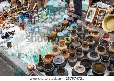 Kiev - February 15: View of flea market in Kiev, Ukraine on February 15, 2015. It is one of the biggest in Kiev. - stock photo