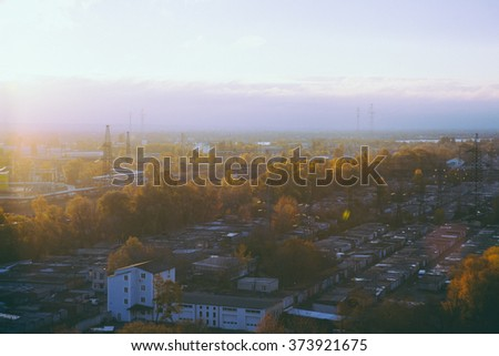 kiev industrial view in autumn sunset