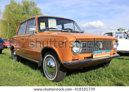 KIEV, KIEV REGION/UKRAINE- APRIL 24, 2016: Soviet car orange VAZ 2101 Lada.