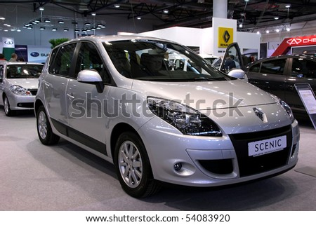 "KIEV - MAY 27: Annual automotive-show ""SIA 2010"". May 27, 2010 in Kiev, Ukraine. Renault Scenic - stock photo"