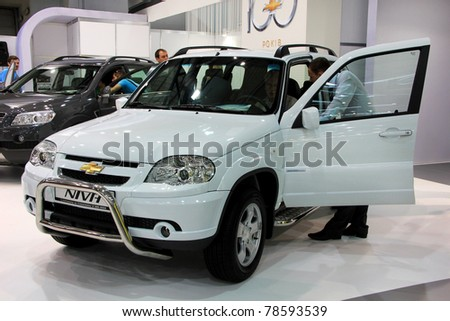 "KIEV - MAY 26: Chevrolet Niva at yearly automotive-show ""SIA 2011"". May 26, 2011 in Kiev, Ukraine."
