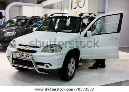 "KIEV - MAY 26: Chevrolet Niva at yearly automotive-show ""SIA 2011"". May 26, 2011 in Kiev, Ukraine. - stock photo"
