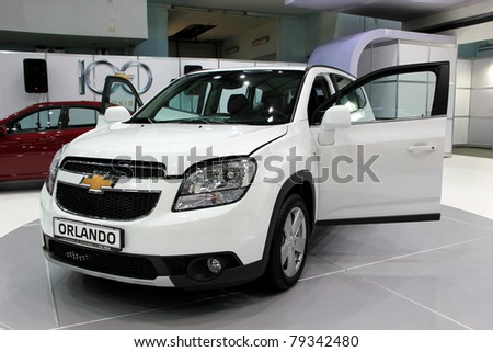 "KIEV - MAY 26: Chevrolet Orlando at yearly automotive-show ""SIA 2011"". May 26, 2011 in Kiev, Ukraine. - stock photo"
