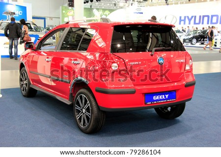 "KIEV - MAY 26: Geely Cross at yearly automotive-show ""SIA 2011"". May 26, 2011 in Kiev, Ukraine."