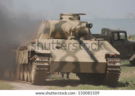 KIEV MAY 11 : German tank (replica), Red Star history club, during historical reenactment of WWII on May 11, 2013 in Kiev, Ukraine - stock photo