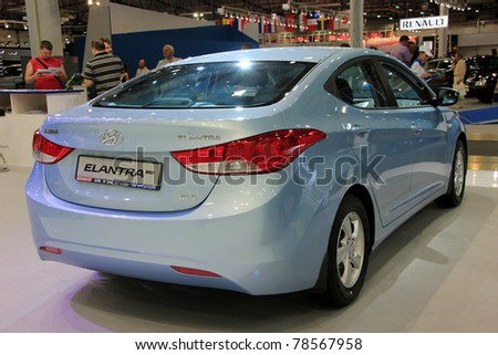 "KIEV - MAY 26: Hyundai Elantra at yearly automotive-show ""SIA 2011"". May 26, 2011 in Kiev, Ukraine."