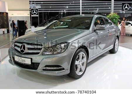 "KIEV - MAY 26: Mercedes-Benz C-class at yearly automotive-show ""SIA 2011"". May 26, 2011 in Kiev, Ukraine."