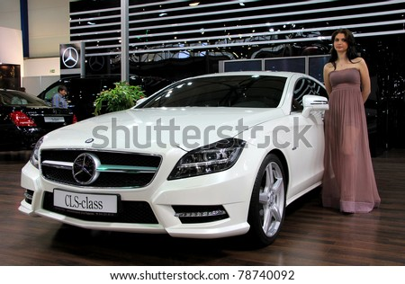"KIEV - MAY 26: Mercedes-Benz CLS-class at yearly automotive-show ""SIA 2011"". May 26, 2011 in Kiev, Ukraine."