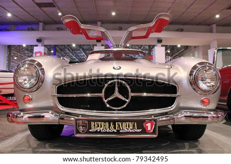 "KIEV - MAY 26: Mercedes-Benz SL-class (300 SL) (1954-1957 years) at yearly automotive-show ""SIA 2011"". May 26, 2011 in Kiev, Ukraine. - stock photo"
