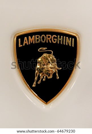 "KIEV - OCTOBER 29: Yearly automotive-show ""Retro & Exotica Motor Show"". October 29, 2010 in Kiev, Ukraine. Lamborghini emblem - stock photo"