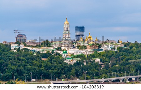 Kiev Pechersk Lavra Orthodox Monastery included in UNESCO world heritage list. View from the Paton Bridge. Ukraine - stock photo
