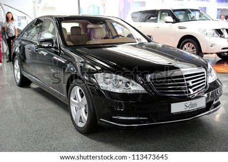 "KIEV - SEPTEMBER 7: Black Mercedes-Benz S-class (S 500) at yearly automotive-show ""Capital auto show 2012"". September 7, 2012 in Kiev, Ukraine - stock photo"