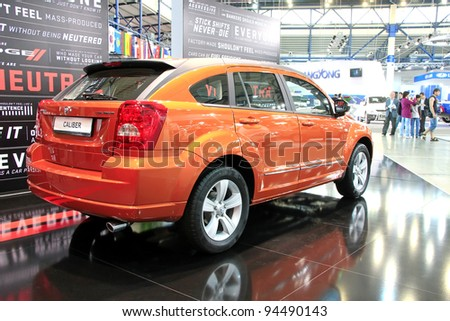 "KIEV - SEPTEMBER 10: Dodge Caliber SXT at yearly automotive-show ""Capital auto show 2011"". September 10, 2011 in Kiev, Ukraine."