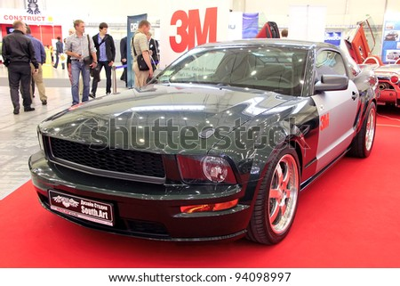 "KIEV - SEPTEMBER 10: Ford Mustang at yearly automotive-show ""Capital auto show 2011"". September 10, 2011 in Kiev, Ukraine."