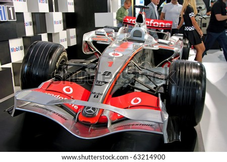 "KIEV - SEPTEMBER 10:Formula 1 car at Yearly automotive-show ""Capital auto show 2010"". September 10, 2010 in Kiev, Ukraine."