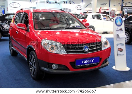 "KIEV - SEPTEMBER 10: Geely Cross at yearly automotive-show ""Capital auto show 2011"". September 10, 2011 in Kiev, Ukraine."