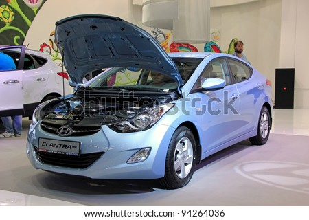 "KIEV - SEPTEMBER 10: Hyundai Elantra MD at yearly automotive-show ""Capital auto show 2011"". September 10, 2011 in Kiev, Ukraine. - stock photo"