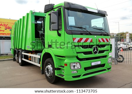 "KIEV - SEPTEMBER 7: Mercedes-Benz Actros at yearly automotive-show ""Capital auto show 2012"". September 7, 2012 in Kiev, Ukraine - stock photo"