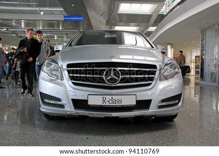 "KIEV - SEPTEMBER 10: Mercedes-Benz R-class at yearly automotive-show ""Capital auto show 2011"". September 10, 2011 in Kiev, Ukraine. - stock photo"