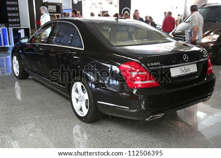 "KIEV - SEPTEMBER 7: Mercedes-Benz S-class (S 500) at yearly automotive-show ""Capital auto show 2012"". September 7, 2012 in Kiev, Ukraine - stock photo"