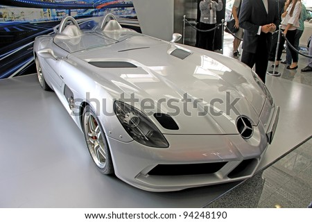 "KIEV - SEPTEMBER 10: Mercedes-Benz SLR McLaren at yearly automotive-show ""Capital auto show 2011"". September 10, 2011 in Kiev, Ukraine. - stock photo"