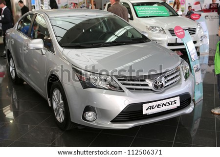 "KIEV - SEPTEMBER 7: Toyota Avensis at yearly automotive-show ""Capital auto show 2012"". September 7, 2012 in Kiev, Ukraine"